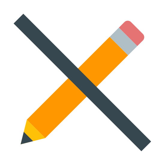 No Edit icon. It's a picture of a pencil with the tip of the pencil facing southwest. There is a solid black line running in the opposite direction from the northwest to the southeast that intersects the pencil at the middle. Together, the pencil and line form an X shape.