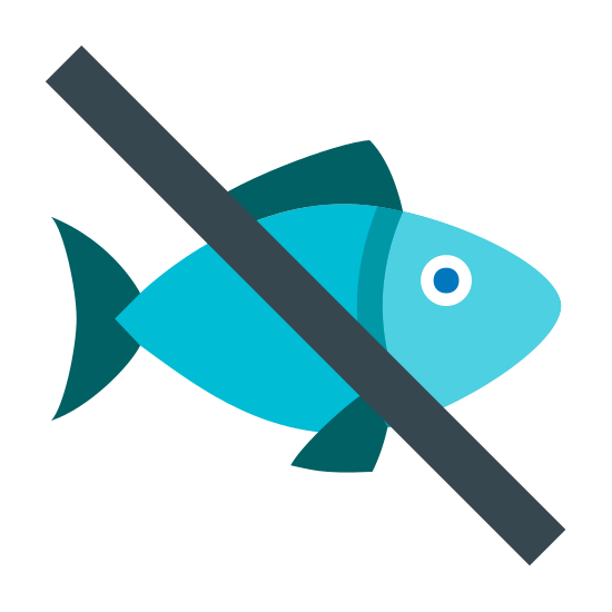 No pesce icon. The icon No Fish is a large fish facing towards the right. It has a fin on both the bottom and the top, with a round filled in circle in the front as an eye. There is a long line in the middle going from the top left corner to the bottom right corner.