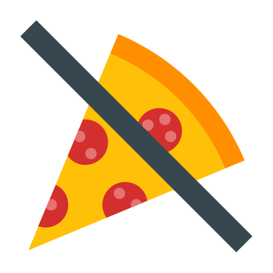 No Food icon. This image is a slice of pizza. It is triangular, and has a crust and several Pepperonis are visible on it. There a line struck through the image indicating negation.