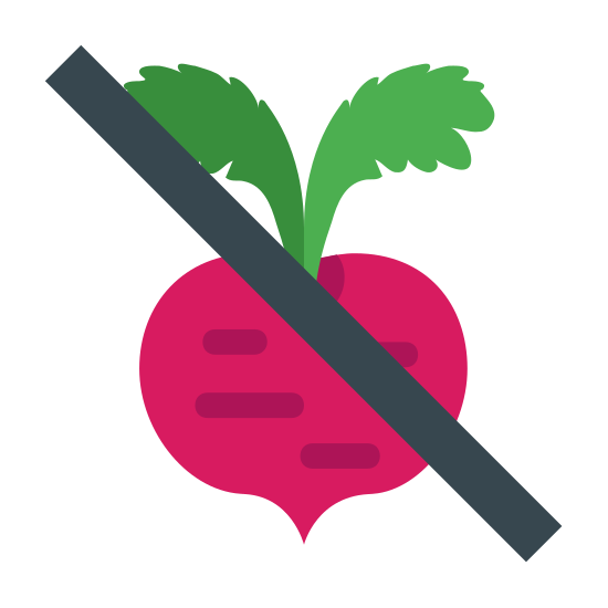 No Fructose icon. The icon is a picture for the logo of No Fructose. The icon shows what appears to be a radish shaped object. The icon has two leaves extending from the top of the radish shaped object. There is a slash through the entire icon.
