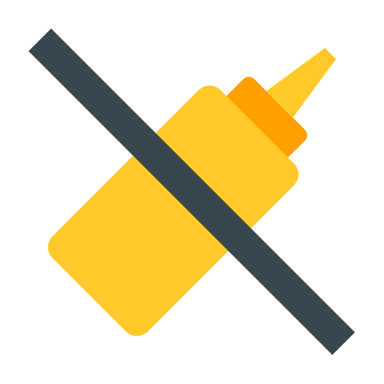 No Mustard icon. A logo of a mustard bottle with a diagonal line drawn across. Bottle is tilted at a forty five degree angle. It is a rectangle with curved corners. Rectangle has a small triangular tip on the right handed side.