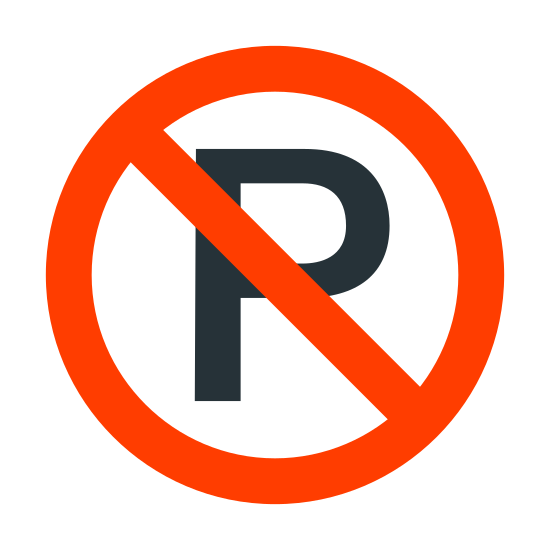No Parking icon. This no parking image had the capital letter 'P' surrounded by a square box, but the capital P has a horizontal strike-through going through it.