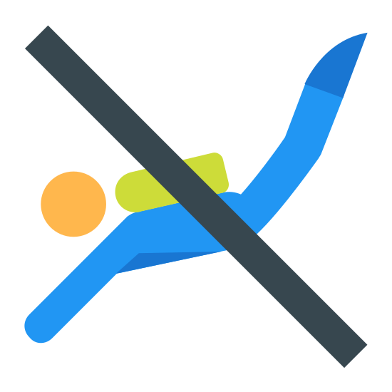 No Scuba Diving icon. It's a logo of a long diagonal line from the upper left to the bottom right. It covers an image of a person scuba diving with their feet in the upper right and their arms in the bottom left with a scuba tank on their back.