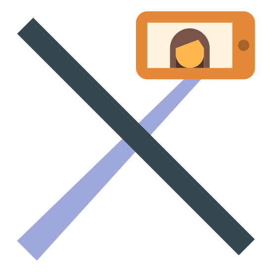 Zakaz używania kijków do selfie icon. It's a rectangular smart phone in horizontal orientation with a picture of a woman displayed on the screen.  Attached to the smart phone is a long stick coming out the bottom.   The entire image has a angular strike-through going through it to indicate that selfie sticks are not allowed.