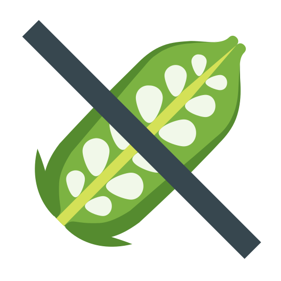 Sin sésamo icon. The icon is a picture of the logo for No Sesame. The icon is what appears to be an ear of corn that has already been husked. The corn is facing up to the right at an angle. There is a slash through the entire icon.
