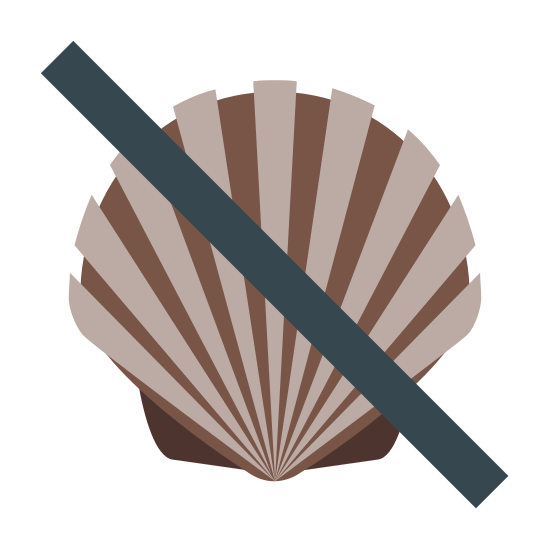Sem Marisco icon. This is a picture of a seashell with a line going across it in the center. it is showing that fish is not allowed. the seashell has six sides and two smaller ones at the bottom.