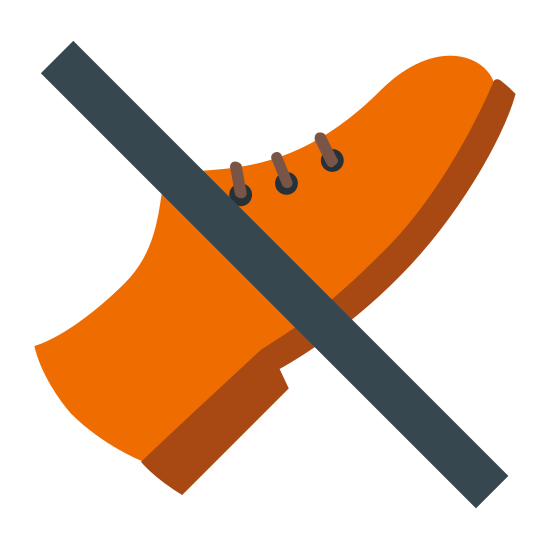 Bez butów icon. This icon depicts a pair of shoes with a slash mark running through them. The purpose of the icon is to convey to the onlooker that shoes are not allowed.
