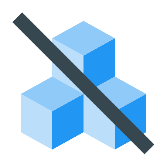 Ohne Zucker 2 icon. The icon is a depiction of 3 cubes with one stacked on top of two of them. The cubes have a Diagonal line running through them from upper left to lower right.