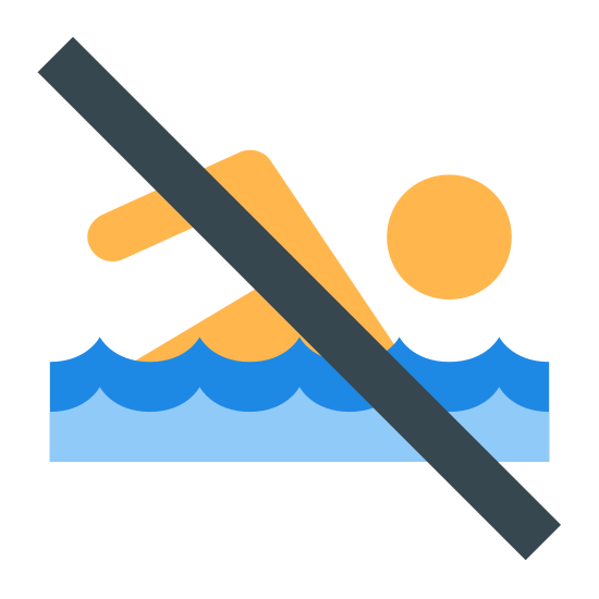 No Swimming icon. The image is a person with only part of their body shown. The head and their right arm. There is a curved line under the person. There is one straight diagonal line cutting across the person starting from the upper left to the lower right.