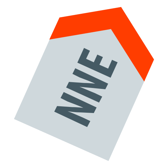 Norte noreste icon. A half of a hexagon with letters inside it. The letters consist of N, N, and E. The top of the half of a hexagon is an arrow. The letters are in the center of the half of a hexagon.