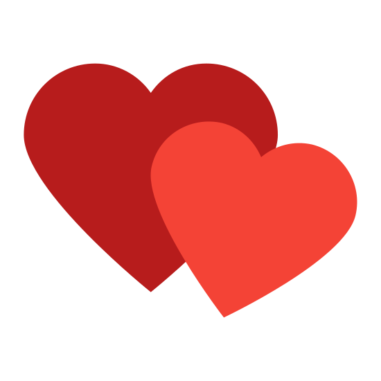 Powieść icon. The icon shows two heart shapes. One is larger standing upright behind a second one that is tilted down and smaller in size. The hearts would represent a lowing emotion towards something.