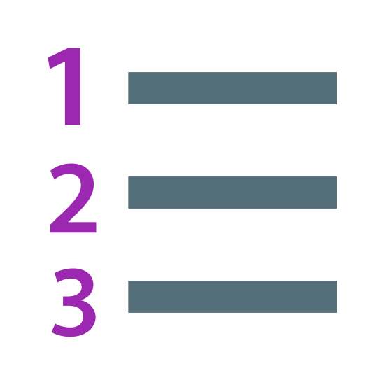 Lista numerowana icon. This icon is depicting a numbered list. Each line of the list is ordered one-through-three and is horizontally structured with a line following each number. The numbers one through three are trending downward.
