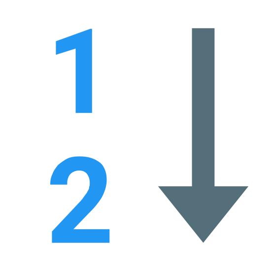 Numeric icon. The icon shows two horizontal numbers. The number at the top is a 1 and the number at the bottom is a 2. At the right of the numbers is an arrow that is pointing downwards.