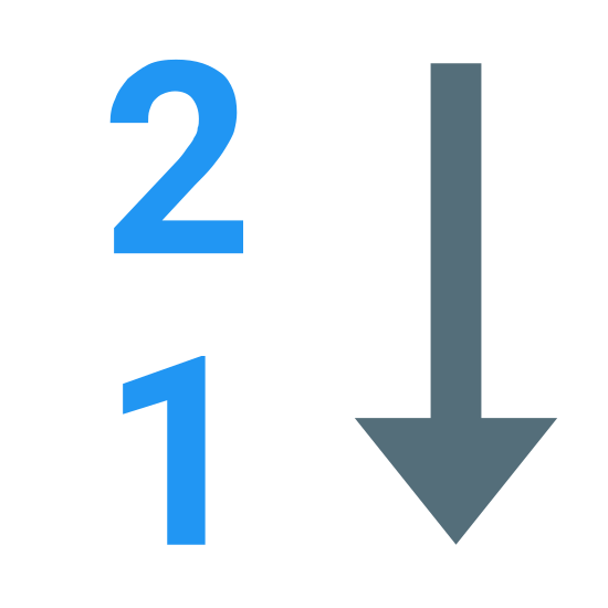 Umgekehrte Numerische Sortierung icon. There are two number which are one and two and are placed vertically with number two on top and number one right below it and also there is an arrow pointed towards south or downwards which is on the right side of these two numbers.