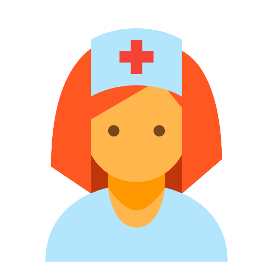 Pielęgniarka Kobieta icon. This is an image of the front of a nurse's face. The face has no features to identify it but has shoulder length hair. The nurse is wearing a rectangular hat with a cross in the center.