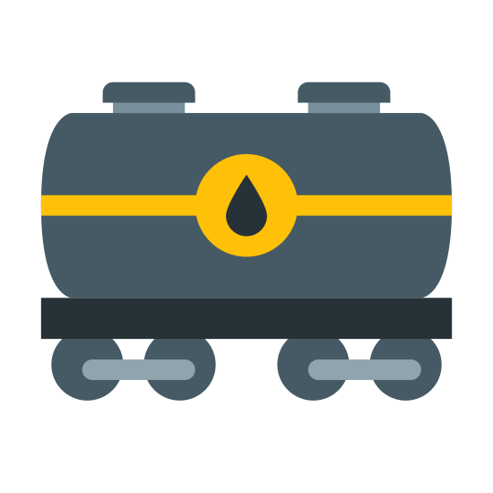 Oil Tanker icon. This looks like a cylinder on its side. There's a water droplet on the cylinder. There's a long rectangle along the bottom of the cylinder. There's four circles on the bottom of the rectangle.