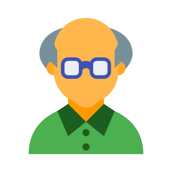 Old Man icon. A logo of a head indicating an older man. Drawing is from the front rather than sides. Logo has hair on side of the head, thinning hair on top. Logo has square glasses. No mouth.