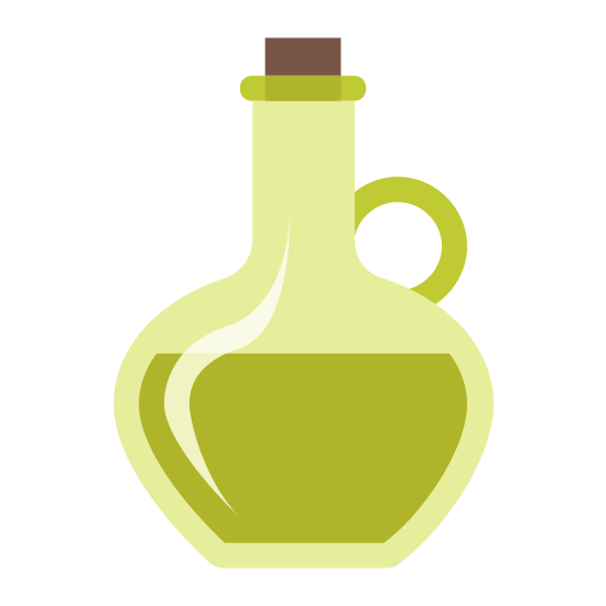 Oliwa z Oliwek icon. There is a round jug with a slim neck and wide bottom. The jug has a handle on the right, a stopper in the top, and is half full.
