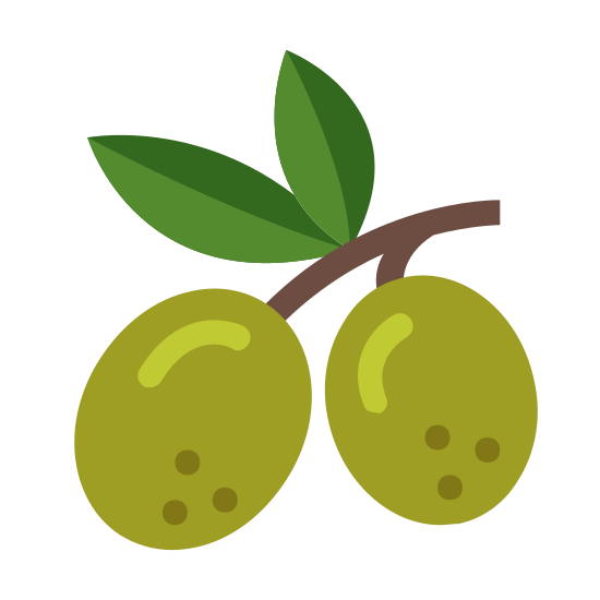 Olive icon. This image represents an olive. There are two olives with lines to show reflection on them. One olive is connected to a stem and there are two leaves on this stem.