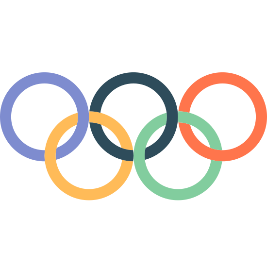 Olympic Rings icon. This is an image of five circle like rings all linked to each other. Their are three on the top and two on the bottom.
