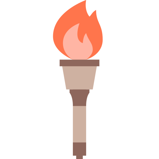 Znicz olimpijski icon. This logo is shaped like a torch with a fire burning on the top.  In the middle of the fire there are dark colors and on the outside it is white.  There is a grip on the torch so that someone can hold it easily.