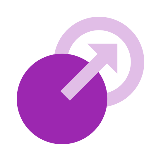 One Way Transition icon. The icon is a picture used to describe the logo for One Way Transition. The icon is two circle shapes slightly overlapping eachother. The first circle has an arrow start in it and lead to the circle that is slightly higher and behind it