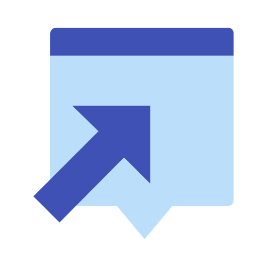 Otwórz w Popupie icon. This is an icon to indicate that a separate smaller window will open. There is a rectangle with rounded corners. In on of those corners there is an arrow with the head pointing to the corner directly diagonally.