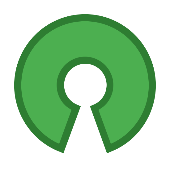 Open Source icon. The icon is basically identical to the logo used by the Open Source Software community. The Open Source Software community is a collection of developers who work toward the creation of software and tools whose source code is released with a permissive license, for all to use and modify with few restrictions.