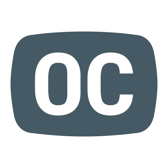 "Opened Captioning icon. The opened captioning icon is two letters, of the same height, placed next to each other. An ""O"" is on the left side, and a ""C"" is to the right of it."