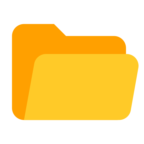 Opened Folder icon. The open folder icon for pc. Manila folder that's slightly open, where files are stored. The tab is at the top left in this variant. This is what people double click to get to their information on computers.
