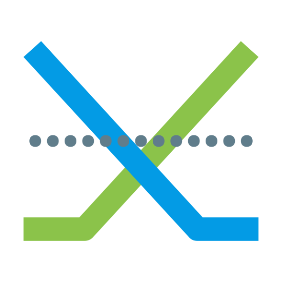 """Options icon. This logo has two lines shaped like hockey sticks crossed like an X. Behind that shape there is a dashed line that crosses both """"hockey sticks"""" just above the point where they cross each other."""