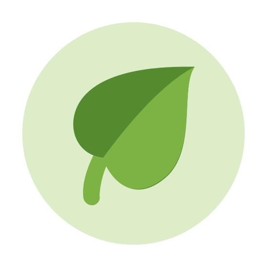 Zdrowa żywność icon. Logo is a complete circle. Inside of the circle is one single leaf used to represent that the food is natural. The leaf also represents that the food does not contain any processed ingredients.