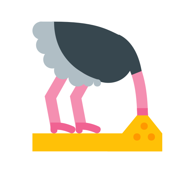 Strauß-Kopf im Sand icon. An ostrich head in the sand icon is shown with an ostrich with its head down. The ostrich head would not be shown because it is buried down in the sand. However, a person can tell that it is an ostrich by the length of its legs and neck, which is long.
