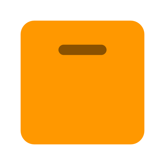 Package icon. This is a picture of a box with a handle and a small sign in the bottom right corner that shows it needs to be facing up. The sign has a small line on the bottom with two arrows on each side of it pointing upwards.