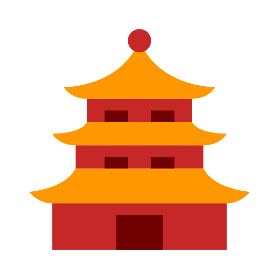 Pagoda icon. This is a three tier building. It is considered a Buddhist temple. There is a small front entrance as the top comes to a point. Each tier grows shorter with the lowest being the widest. This iOS 7 icon is listed under places.