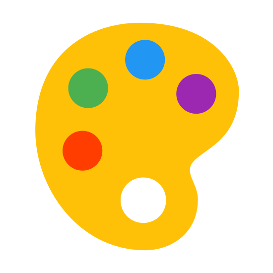Paint Palette icon. The icon is shaped like an oval that slightly resembles the letter C. Inside of it there are five circle shapes that almost go completely around it if it wasn't for the missing circle towards the middle right.