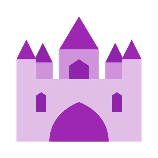 Palácio icon. The icon is depicting a castle or palace of some kind. The palace is symmetrical with an archway in the middle and five turrets with a prominent tower in the middle. There are two windows on the palace.