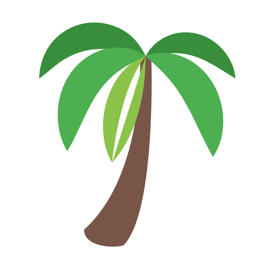 Palme icon. This is a picture of a large palm tree that has four large sides to it. It doesn't have coconuts in the tree. It's trunk is long and slanted towards the bottom left.