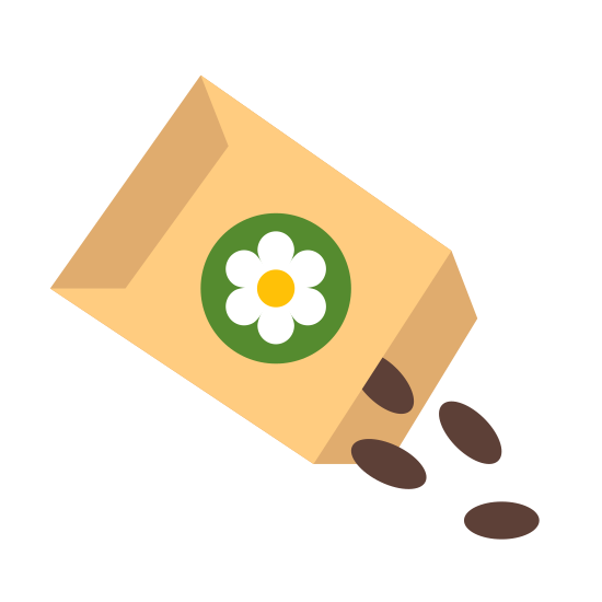 Seed icon. The icon is a simplified depiction of a paper bag of seeds, as one would purchase from a supermarket. The packet, represented by a rounded rectangle, has a flower inscribed on it, and is torn open at the corner. A small pile of seeds sits just outside of the bag.