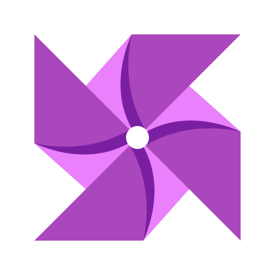 Pinwheel icon. This image represents a paper windmill. There are four triangles touching tips in the center of the image with a slightly curved and smaller triangle on top of each of the main four.