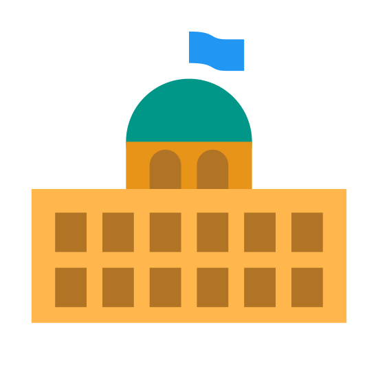 Parlamento icon. The icon is a small version of a larger building. The base is a rectangle, with eighteen shaded rectangles inside of it, representing windows. A half circle forms a dome and atop the dome is a small flag.