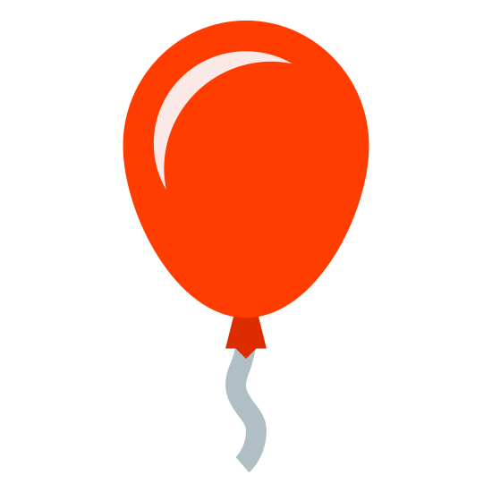 Party Balloon icon. The image is of an round shape that isn't a perfect circle. The top is more circular and comes to a bit of a rounded point at the bottom. The top is wider than the bottom. From the bottom of the object is a squiggly line.