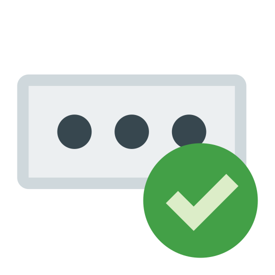 Validation icon. This icon for password check is a rectangle with rounded edges. Inside of the rectangle there are three circles placed horizontally next to one another. In the bottom right corner of the rectangle is a circle overlapping the corner, with a check mark in its center.
