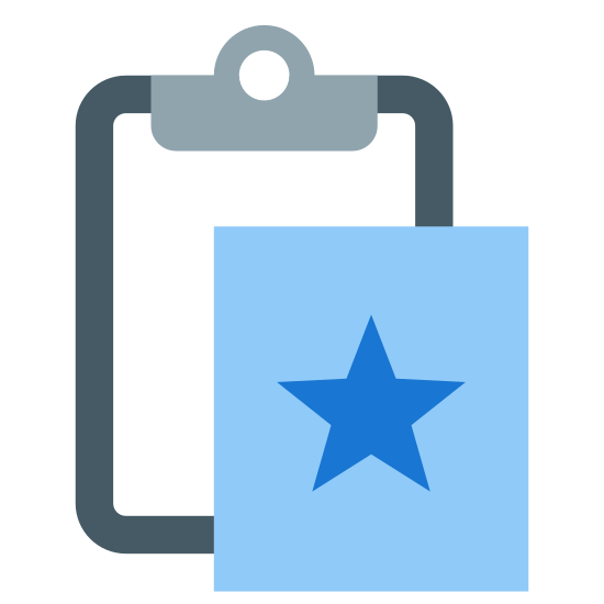 Paste Special icon. A paste special icon consists of two parts that are both rectangular shape. The first symbol is a clipboard to show that something is being paste or copied down. The second part of the image is to represent that it is special, which will be a rectangle with a star in the middle.