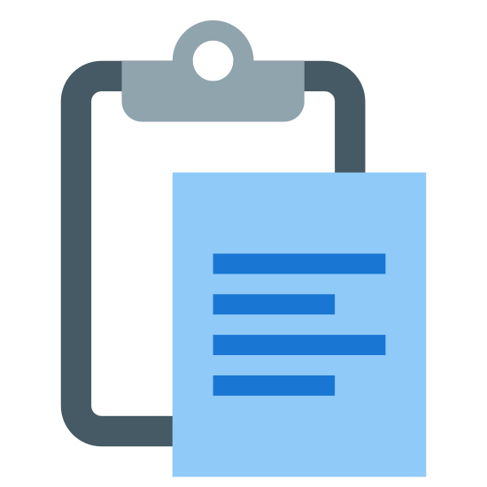 ペースト icon. This image depicts a piece of paper overlapping a clipboard. The clipboard is rectangular shaped with rounded edges, whereas the paper is a perfect rectangle with sharp edges. There are four lines of writing present on the paper.