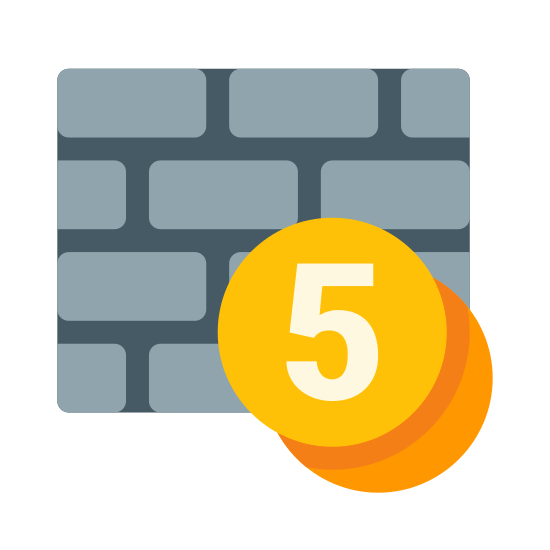 Pay Wall icon. This is a picture of a brick wall that is four layers tall. in the bottom right hand corner of the wall is the number 5 in a circle with another circle underneath and behind that one