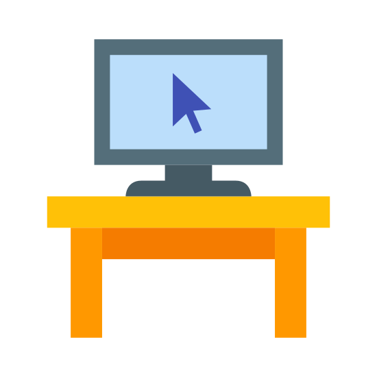 PC on Desk icon. This is a simple icon of a computer sitting on the top of a desk. There is a mouse pointer in the middle of the computer screen and the desk is sitting upright, ready for use.