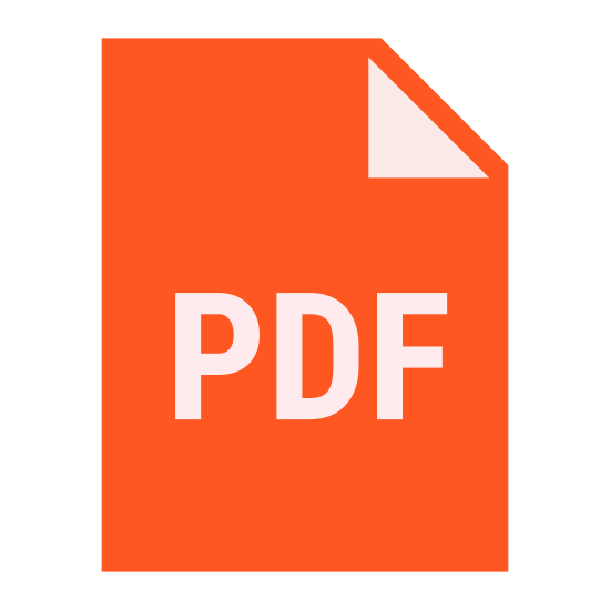"""PDF icon. This is a picture of paper or note with the top right hand corner folded inwards on top of the paper. in the center are the capital letters """"PDF"""". it's representing a file of some sort"""