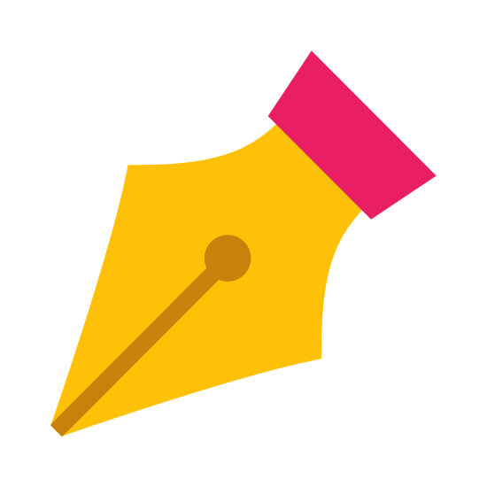 Pióro icon. It's the tip of a pen. It is pointed, facing down and angled towards the left. It seems to be sharp, like an old-fashioned pen that would be dipped in ink.