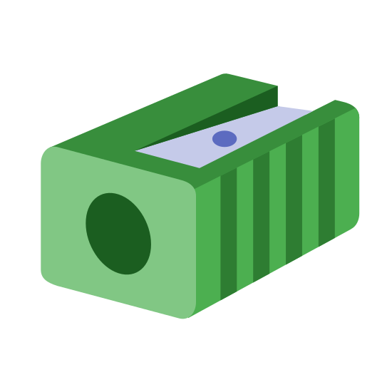 Pencil Sharpener icon. It is a icon of a pencil sharpener. It is a rectangle with a small circle on the outside where the pencil would be inserted. On the inside there is a blade it a dot in the middle.
